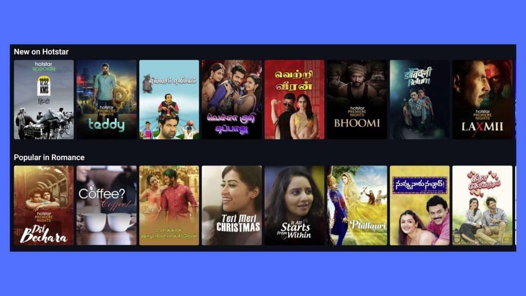Hotstar Canada recent movies
