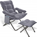Modern Accent Fabric Lazy Chair w/ Ottoman, Upholstered Lounge Reclining Armchair $100 ($200) Shipped