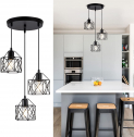 Industrial Pendant Light 3-Lights Cluster Pendant Lighting Metal Caged Vintage $25 ($50)
